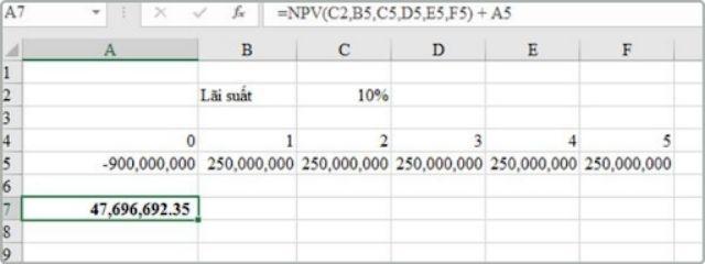 Công thức tính NPV trong Excel